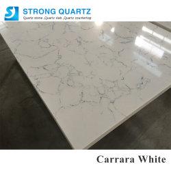 人工的なカラーラの白い水晶石の水晶Benchtopsの工場直接価格