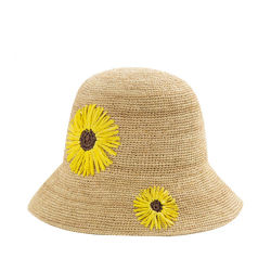 La Rafia de alta calidad de ganchillo sombrero de paja de la mano de la cuchara para la venta