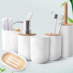 Conjunto de banho 6 peças de plástico acessórios de banho /Suporte da escova/ Lavar Cup/sabonetes prato/Lado Sanitizer garrafa/WC/Rack lavar com suporte da escova