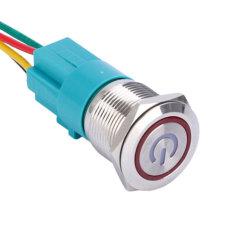 8mm 10mm 12mm 16mm 19mm 22mm 30mm 40mm resistente al agua IP67 12V LED iluminado Metal momentánea en off Interruptor Pulsador de Acero Inoxidable fabricante