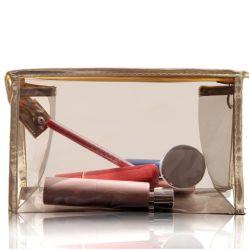 Fördernd Firmenzeichen-Abdruck transparenten Belüftung-freien kosmetischen Plastikbeutel mit nichtgewebtem Rand anpassen
