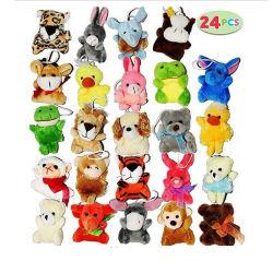 Amazon Venta caliente 24 Pack de Mini Animal surtido de juguetes de peluche a los niños Cotillón lindo Llavero de pequeños animales de la selva para niños