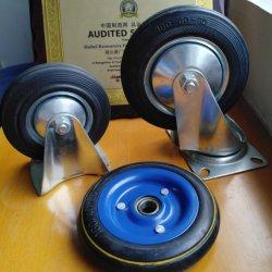 4/5/6/8 polegada de borracha preta roda a roda do carrinho /Girar/Freio/ rode com freio/ Serviço Pesado Rodízio Industrial topo da placa