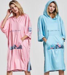 Venda por grosso de adultos Personalizado Mudança Encapuzados Poncho Surf Blusa com capuz toalha manto de toalha de praia