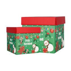 Fscの証明書のクリスマスのマットのラミネーションのハンドルのない波形のギフトのショッピングボックス
