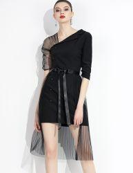 Amazon nueva moda V-cuello de encaje sexy señoras noche vestido de mujer