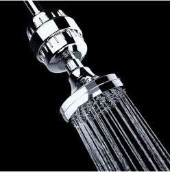 فلتر دش من 15 مرحلة لمياه المدينة، مع KDF 55، القضاء بشدة على الكلور والفلوريد، فيتامين C مضمن لتحسين جفاف البشرة والفلاخة، حماية H