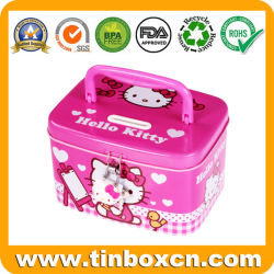 Hello Kitty dinero tin box con mango de plástico, Coin bank