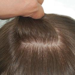 注入されたシリコーンベース人の自然な一見を用いる自然な毛のToupeeおよび最上質