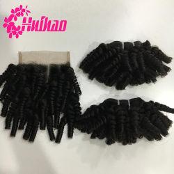 Os fornecedores de extensão de cabelo China Remy Malaio Kinky afro ondulado costurar no cabelo humano de tafetá com encerramento Kinky Afro comprar a granel