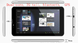 """7 """" 정제 PC (3G 외침, Mtk 6577 이중 중핵 외피 A9 기구, 7.0 """" 거대한 HD 스크린 1024*600, WiFi, 이중 GPS 의 Bluetooth, FM 라디오 수신기)"""