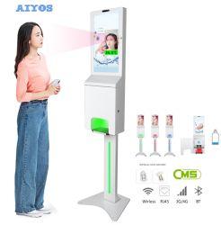 [Original Design] 21,5 polegadas Higienizador mão automático quiosque digital com leitura de temperatura na testa e câmara