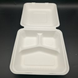 غرفة طعام قابلة للتحلل البيولوجي وقابلة للاستعمال مرة واحدة مع قصب السكر القابل Compostelle Bagasse 3 غرف مع صندوق طعام/حاوية طعام محللة