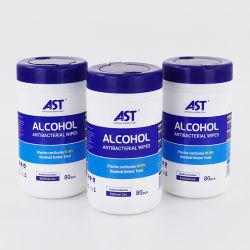Personalizar el 75% de alcohol desinfectante las toallitas húmedas biodegradables Canister /bañera