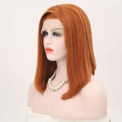 Synthetische Spitze-Vorderseite-Perücke für Frauen-seitliche Teil-lange seidige gerade Spitze-Perückehalbe Hand gebundenes Bob-Haar