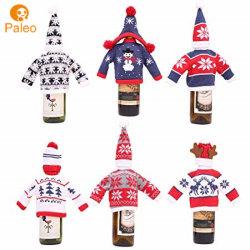 모자를 가진 고정되는 크리스마스 파티 축제 식탁 훈장 술병 덮개가 크리스마스에 의하여 스웨터 휴일 덮개 뜨개질을 했다