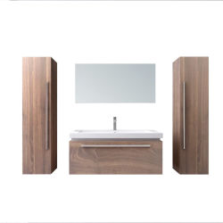 Clase moderna de madera Nuevo Diseño de Muebles de baño Cuarto de Baño tocador con espejo LED