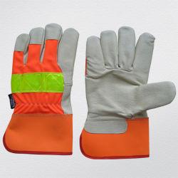 Porco Hi-Vis couro de Grãos Forro Thinsulate Inverno Segurança Anti-Cold luvas de trabalho