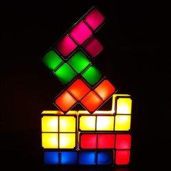 7 colores retro juego Tetris Novedad apilable de temáticas de la luz de noche