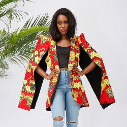 Otoño/Invierno Moda Mujer Plus Size lado remolque Casual Jacket chaqueta de tejido de impresión de cera de Ankara