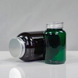 محاكاة الدورق الزجاجي قرص السمك لوحة السمك زيت Capsule Healthcare Medicine زجاجة بلاستيكية شفافة حاوية طعام كاندي لامعة عالية وملونة 250 مل زجاجة الحيوانات الأليفة