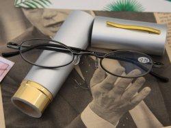 Bolígrafo de aluminio caso pequeño tubo de metal de forma redonda gafas de lectura con la nariz de silicona elástico