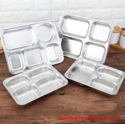 テーブルウェアによって分けられる金属の食糧昼食の混乱の皿のステンレス鋼5つの食事コンパートメントディナー用大皿