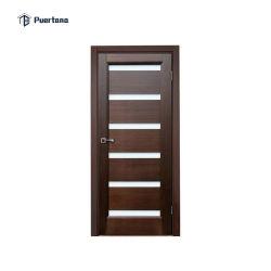 Interior puerta de madera de palisandro sólido masiva de la desigualdad en el diseño de hoja doble