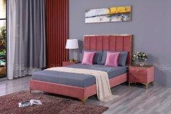 モダンなベッドルームの家具、ベッド、グレーのベルベットの収納ベッド、トライデント レッグベッドルームの調度品が