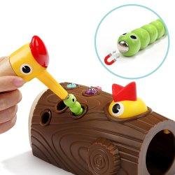 Novo Estilo de madeira magnético pica-pau comer Bug de captura de brinquedos a crianças exercer uma coordenação Hand-Eye Toy