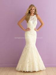 Robe de mariage de sirène de robe nuptiale de lacet de collet de bijou
