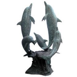 Beeldhouwwerk van de Dolfijn van het Brons van het metaal het Dierlijke voor de Decoratie van de Tuin