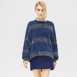 가을 동안 셔닐 실 털실 숙녀 스웨터 스웨터 둥근 목 지구에 의하여 뜨개질을 하는 외투
