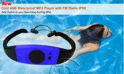 Fone de ouvido fashion à prova de rádio FM, leitor de MP3 à prova de água IPX8