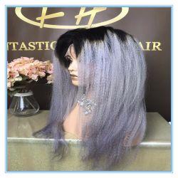 Высокое качество горячей продаж прямой Kinky Omber серый цвет волос человека шелк базы кружева парики с заводская цена Wig-054