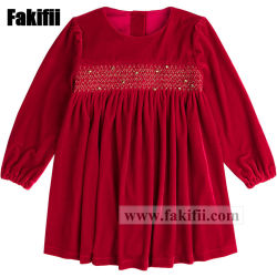 2019 Comercio al por mayor ropa de niños de alta calidad para bebés/niños/bebés vestir chica Smocked vestido de terciopelo rojo
