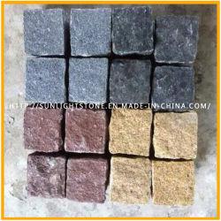 Gris/negro/amarillo/rojo, Cubestone piedra cúbica de granito, pavimento de adoquines de piedra, con superficie natural