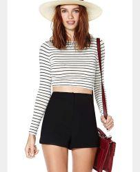 여자 기본적인 우아한 간단한 줄무늬 긴 소매 작물 상단 U 목 t-셔츠를 위한 OEM 형식 블라우스