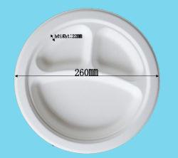 La vaisselle biodégradable 10dans-3compt fabriqués à partir de la plaque de la canne à sucre