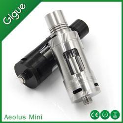 Mini Rebuildable Gigue Aeolus atomizador, aço inoxidável e vidro Pyrex, Turbina Superior Instalado, Controle de temperatura Mod