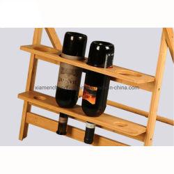Cocina creativa de madera del organizador de bambú plegable con vino de mesa de bocadillos de estante de la pantalla
