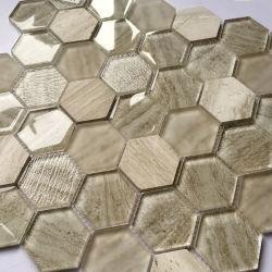 Carreau de mosaïque en verre hexagonal de salle de bains de décoration intérieure de 300X300mm