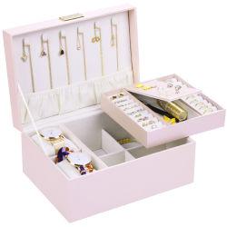 Contrôles brodé PU amovible de grande capacité de bijoux Boîte de rangement en bois
