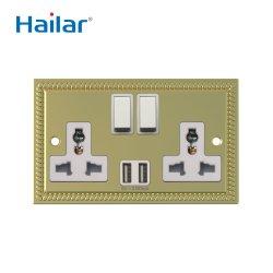 Hailar Universal de Graves polido UK 2 pista parede de metal do conector do carregador de tomada comutada com USB (3.4A)