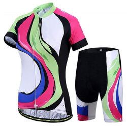 女性の夏の速い乾燥の不足分の通気性の短い袖のスポーツの自転車ジャージー