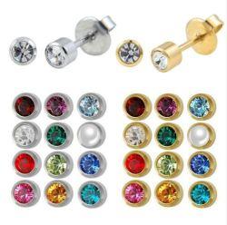 Birthstoneのイヤリングの刺すような宝石類に穴を開けるステンレス鋼の水晶耳
