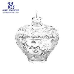 Tarro de cristal de almacenamiento de vidrio de caramelo de azúcar en la olla con tapa de vidrio Portavelas
