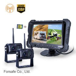720p Vista trasera del camión inalámbrica del sistema de cámara de reversa con 2 cámaras de marcha atrás en alta definición y funciones de DVR