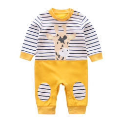 100%년 면 긴 소매 봄과 가을 지라프 인쇄 아이들 옷을%s 3-24 M 아기 장난꾸러기 옷