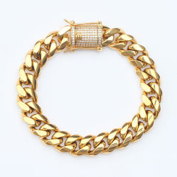 Micro paver CZ Gold Bracelet cubain de la chaîne de liaison pour les hommes